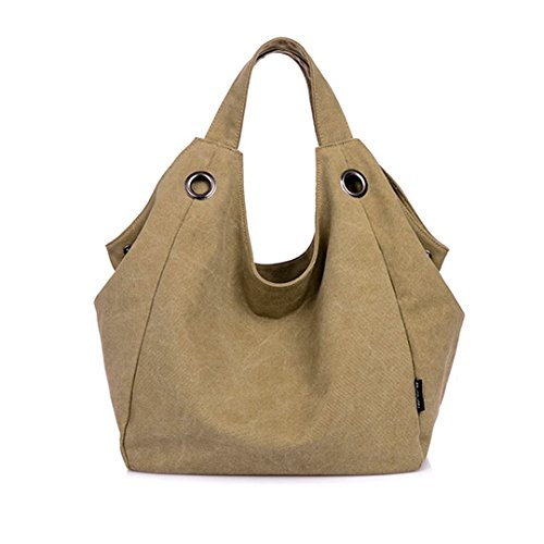 Borsa a tracolla da donna, resistente di tela, Vintage, Khaki (kaki) - CLOA0019-04