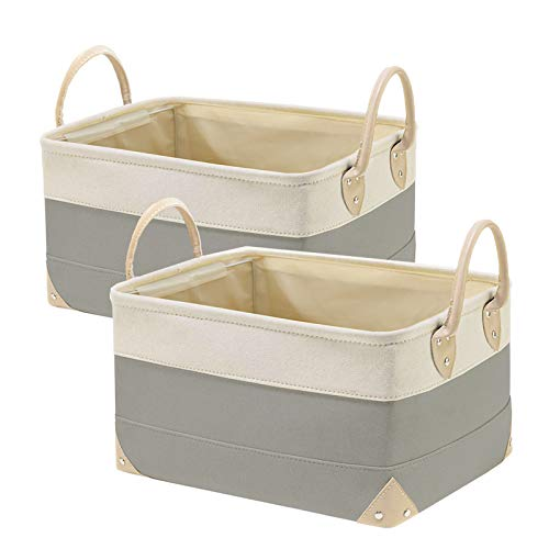 2 Pack Large Decorative Fabric Storage Bins,Foldable Storage Baskets for Organizing, Open Storage Bins for Shelves, 15x11x8.5 Collapsible Storage Baskets for Home Office Closet Organizer