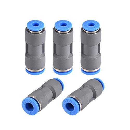 sourcing map Conector Reductor Recto Montaje 6mm a 4mm con ector Plástico Unión Tubo Liberación Rápida Neumática Gris 5Uds