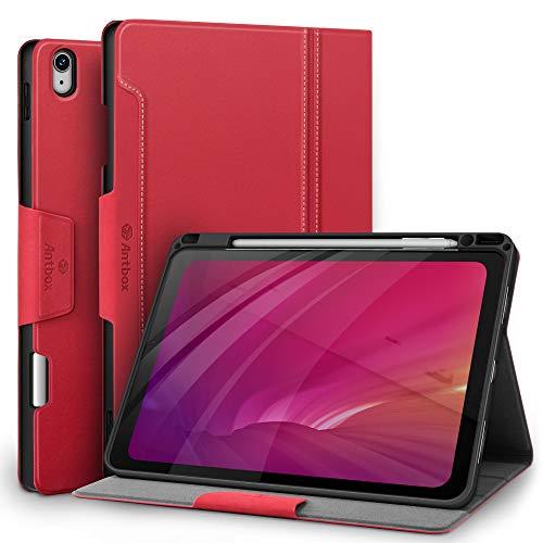 Antbox Hülle für iPad Air 4. Generation 2020 iPad 10.9 Zoll mit Stifthalter Apple Pencil Halter PU Ledertasche Schutzhülle (Rot)