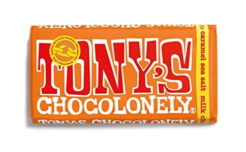 Tony's Chocolonely Fairtrade Caramel and Sea Salt Milk Chocolate Bar 180g