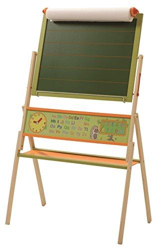 roba Tafel 'ABC Igel', Kindertafel inkl Papierrolle, Standtafel drehbar mit Schreibtafel liniert, Maltafel magnetisch, Uhr, ABC, Zahlen und Ablage, Holz, grün/natur