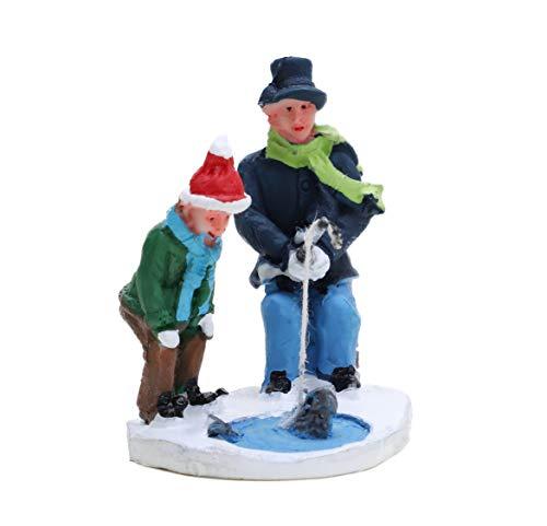 Toyland Mini Resin Christmas Collectible Ornament - Village Scene Accessories - Christmas Figures (Fisherman 4.5cm x 5cm)
