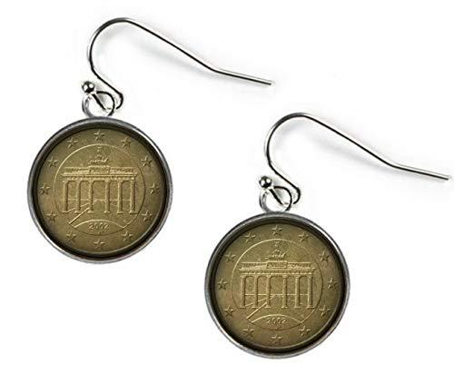 Xubu - Pendientes de botón de Plata de 50 Euros, Estilo Vintage, para coleccionistas de Monedas