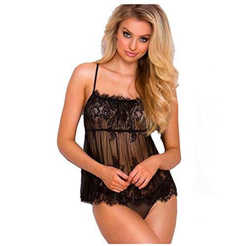 EVBEA Lencería Mujer Erótica Hot Transparente Tentación Camisón con Tanga Ropa Interior Sexy Dormir Vestido Babydoll Encaje (Ropa)