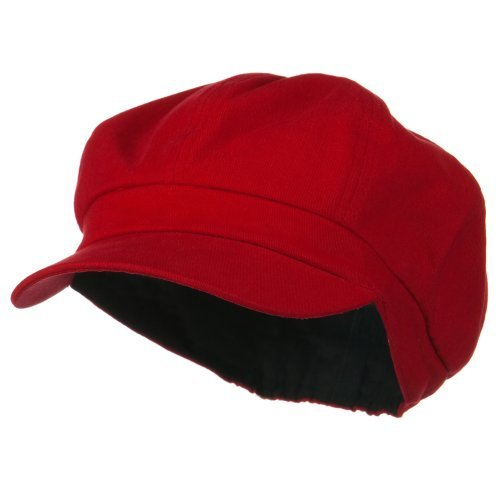 Cotton Elastic Newsboy Cap-Red (One Size)