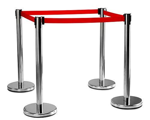 Stagecaptain PLS-200S Absperrständer Personenleitsystem 2 Paar (4 Stück Absperrpfosten, Hotel, Ausstellung, Flughafen, Vip, roter Teppich, Absperrband rot) silber