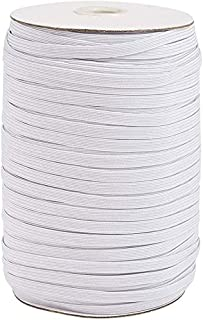 200 Yards White 1/4 inch Wide Flat Elastic Band Braided Stretch Strap Cord Roll for Sewing Crafting and Mask Making