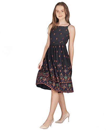 METRO-FASHION Women's Fit and Flare Knee Length Dress (MF17DR39M, Black, Medium)