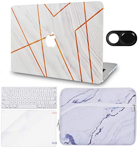 LuvCase 5 in 1 LaptopCase forMacBookAir 13 Inch A1466 / A1369 (No Touch ID)(2010-2017) HardShellCover, Sleeve, Webcam Cover, Keyboard Cover & Screen Protector (White Stone Marble Stripes)
