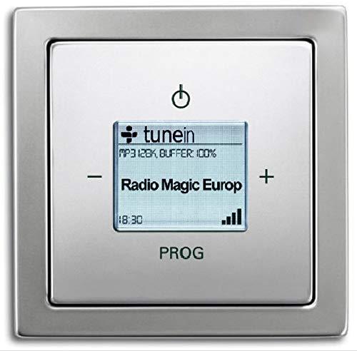 Busch Jäger Unterputz UP iNet Inernet WLAN Radio (8216U) Busch Jäger PUR Edelstahl - Set mit Radioeinheit 8216 U, Rahmen und Radioabdeckung