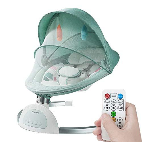 Utron Elektrische Babyschaukel Mit Fernbedienung und Bluetooth, Babywippe mit 5 Schwingungsamplituden und 3 Timing, Elektro Schaukelstuhl mit Touchscreen, für Neugeborene 0-36 Monaten,Green