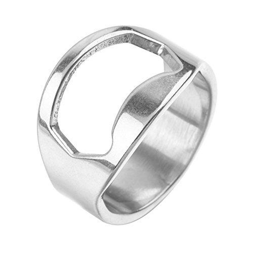 Scrox Anillo de dedo de acero inoxidable 1X anillo en forma de abridor de botellas de cerveza para la barra de cerveza herramienta