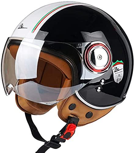 DXMRWJ Hombres Y Mujeres Vintage Casco de Moto Adultos Half-Helmet de Motocicleta...