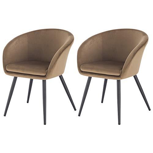eSituro 2 x Sedie in Velluto Marrone da Sala da Pranzo Sala Attesa con Braccioli Poltroncine Camera da Letto Piedi in Metallo Nero SDC0235-2