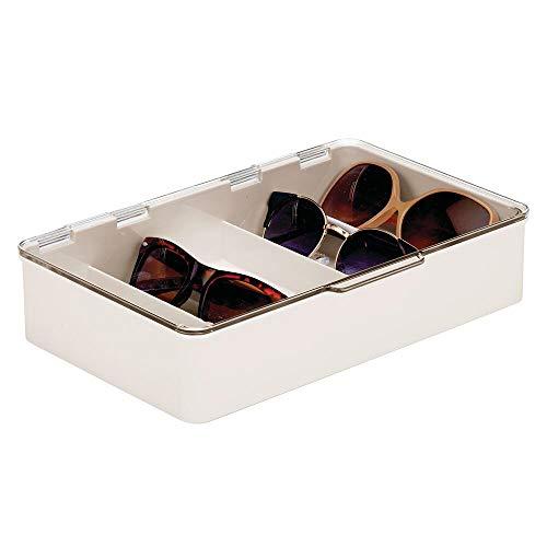 mDesign Cajas para gafas de sol – Clasificador de plástico con 5 compartimentos – Organizador de armarios para guardar todo tipo de gafas – crema y transparente