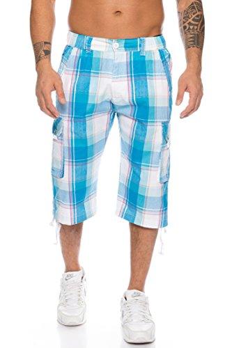 Raff&Taff Herren Bermuda Shorts Kurze Hose Karo Bunt S M L XL XXL (XXL, Türkis)