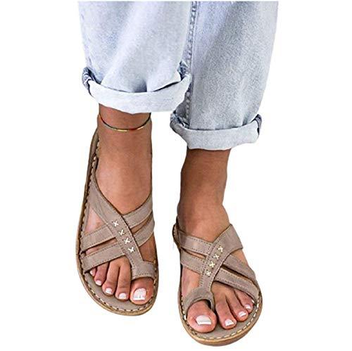 SJBD-Coaster Damen Sandalen 2021 Sommer Bequeme Hausschuhe Mode Roman Clip Toe Wedge Gladiator Sandalen Niedrige Absätze Strandschuhe Lässige Flip Flops