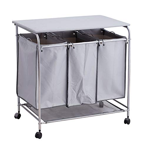 Taylor & Brown® Carrito de lavandería con Ruedas, Cesta para la Colada con Tabla de Planchar y 3 Bolsas extraíbles Carrito de lavandería con Ruedas