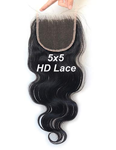Luwigs 5x5 HD Lace Closure Human Virgin Hair Body Wave Pre Plucked Swiss Lace 5x5 Closure with Baby Hair Bleached Knots Natural Color Free Part