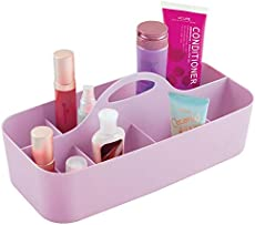 mDesign Plastic Portable Craft Storage Organizer Caddy Tote, Divided Basket Bin for Craft, Sewing, Art Supplies - Holds Paint Brushes, Colored Pencils, Stickers, Glue - Extra Large - Wisteria Purple