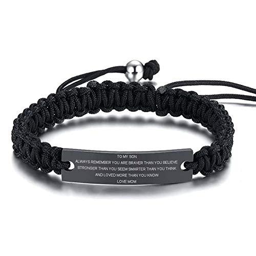 BHSICSACLJ Woven rope tensile bracelet light surface titanium steel stainless steel bending-Black woven