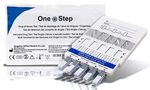 Drogenschnelltest (1 Stück) für 10 Drogenarten - Kokain, Amphetamine, Benzodiazepine, Morphin, Opiat, THC (Cannabinoide), Metamphetamin, Methadon, Ketamin, Buprenorphine