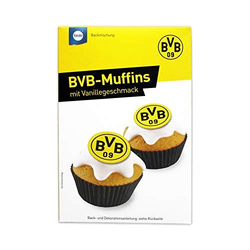 Backmischung mit Zubehör MUFFINS- BVB DORTMUND EDITION (12 Muffins / 340 g - Vanillegeschmack) KOMPLETT - SET