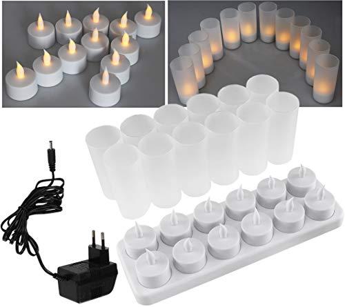 ChiliTec LED Teelichter 12 Stück mit Windschutz I Aufladbar Batterie Kerzen Akku Ladestation Netzteil I Tisch Deko für Party Hochzeit Weihnachten