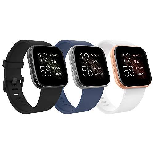 TiMOVO Armband für Fitbit Versa/Versa Lite/Versa 2, [3 Stücke] Silikon Replacement Uhrenarmband Sportarmband Band Erstatzband mit Schließe, klein - Schwarz & Weiß & Marineblau