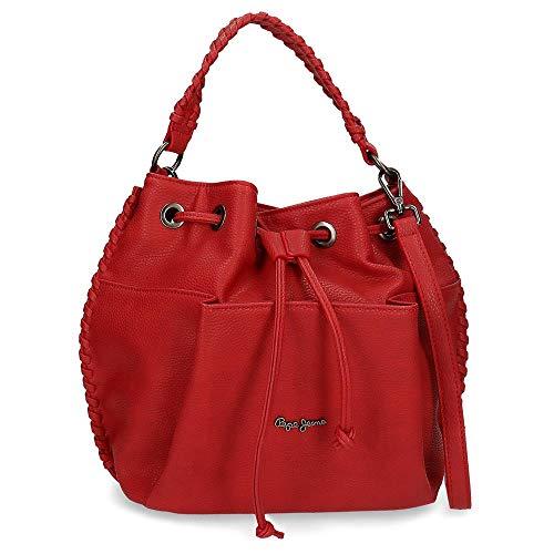 Pepe Jeans Braid Bolso Rojo 25x27x16 cms Piel Sintética