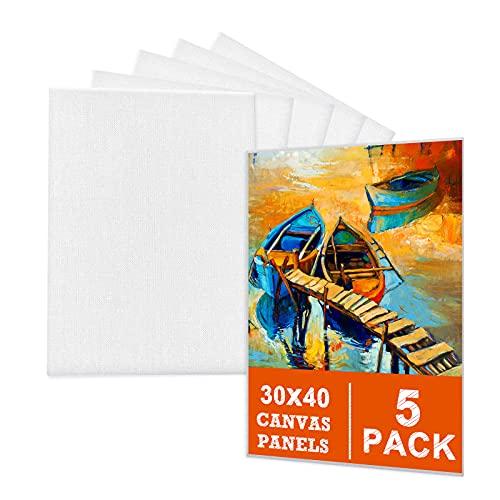 Leinwand zum Bemalen Set Aus 100% Baumwolle (5er Pack) – 30 x 40 cm, Vorgespannte Weiße Künstler Panel Leinwand zum Bemalen - Geeignet für Acryl und Öl Malerei Sowie zum...