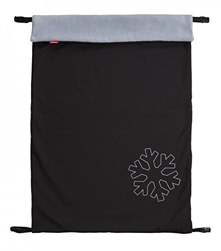ByBoom - Softshell Decke 70x100 cm Thermo Aktiv; Funktions-/Universal-/Outdoor-Babydecke für Kinderwagen, Buggy, Jogger, Farbe:Schwarz/Grau