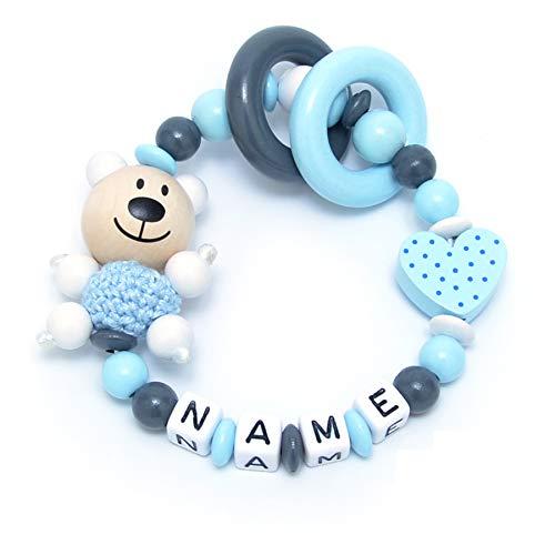 Baby Greifling Beißring geschlossen mit Namen - individuelles Holz Lernspielzeug als Geschenk zur Geburt Taufe - Jungen Motiv Bär und Herz in babyblau