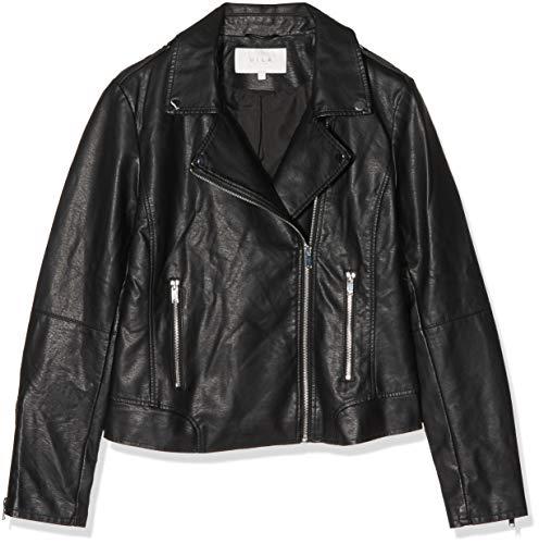 Vila Clothes Damen Vicara Faux Leather Jacket Jacke, Schwarz (Black Black), 38 (Herstellergröße: M)