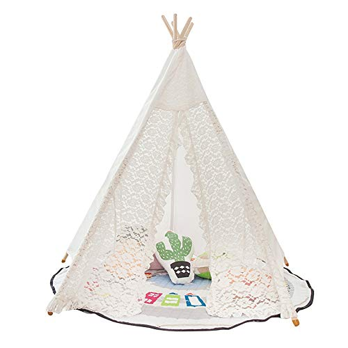 Childrensplay Tent Teepee Lace Tent Playhouse For Kids Party Canopy (White) Gift for Kids (Color : White, Size : ONE SIZE -S)