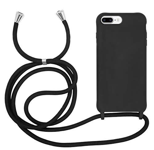 MyGadget Funda con Cuerda para Apple iPhone 6 Plus / 6s Plus / 7 Plus / 8 Plus - Carcasa Transparente en Silicona TPU con Cordón Case y Correa Colgante Negro