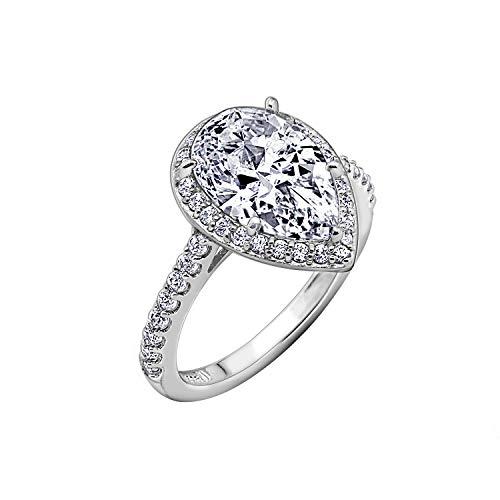 DIAMONBLISS Platinum Clad Cubic Zirconia 100-Facet Pear Cut Ring, Size 8