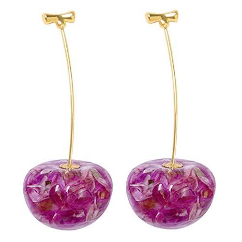 Ruby569y Pendientes colgantes para mujeres y niñas, 1 par de pendientes colgantes de frutas de cerezo dulce, accesorios de joyería para regalo - 02