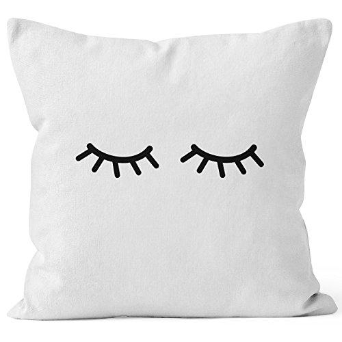 MoonWorks Kissenbezug Schlafende Augen Wimpern Eye Lashes Müde Schlafen Mascara Kissen-Hülle Deko-Kissen Baumwolle weiß 40cm x 40cm