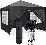 CAROMA Pavillon 3x3m | wasserdicht | inkl. Tasche | Pop-Up Klicksystem | UV-Schutz 50+ | Faltpavillon | Gartenzelt | Party (schwarz, 3 x 3 m + seitenwände)