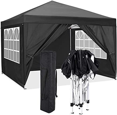 CAROMA Tonnelle de Jardin Tonnelle Pliante 3x3 m Chapiteau Pliable Gazebo Pliant Tente de Reception (Noir, 3 x 3 m avec Parois Latérales)