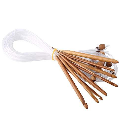 12 stks bamboe flexibele Afghaanse tapijt haak haken set haak naalden garen weven breinaalden