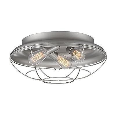 Millennium Lighting 5387-SN Neo-Industrial 3-Light Flush Mount