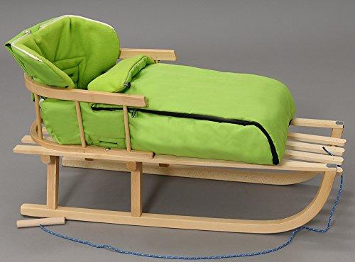 Holzschlitten mit Rückenlehne mit Winterfußsack Schlitten Holz | 10 Farben (Grün)