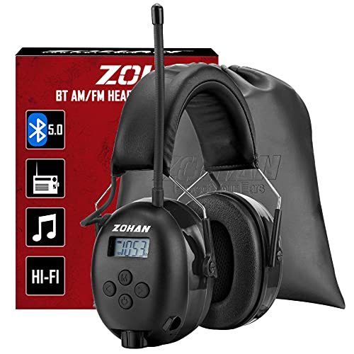 ZOHAN EM033 Over Ear Bluetooth Headphones with Microphone, Ear Protection for Shooting, Noise Cancelling Earmuffs for Noise Reduction, Radio Headphones for Mowing, Woodworking, Electric Welding