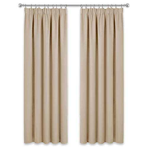 PONY DANCE Decorative Curtain Panels - Super Soft Pencil Pleat Room Darkening Window Curtains for Living Room Thermal Draperies for Energy Saving, 2 Panels, 66 inch x 90 inch, Biscotti Beige