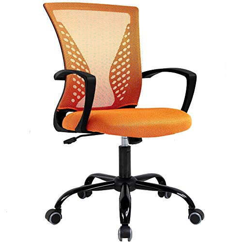 Office Chair Mesh Desk Chair with Lumbar Support Ergonomic Executive Task Chair Adjustable Stool Rolling Swivel Rocking Mid Back Computer Gaming Chair for Adults,Orange