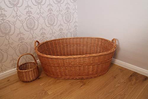 Wäschekorb aus Weide Inklusive Wäscheklammerkorb Tragekorb Wäschebox Weidenkorb Babykorb Babybett Weide
