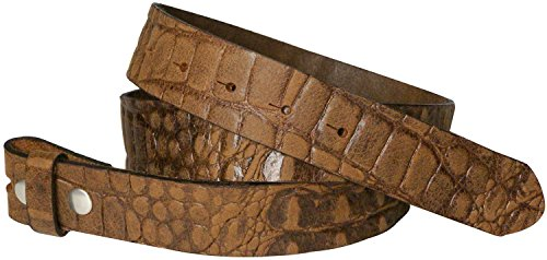 Fronhofer Ceinture échangeable, sangle de rechange de 3,5 cm effet croco, cuir de vachette véritable 17823, Taille:Taille 90 cm, Couleur:Cognac